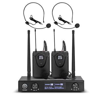 2 Channel Wireless Headset (Pro Audio UHF Wireless Microphone System 2 Channel 2 Lavaliers 2 Lapel 2 Headset )