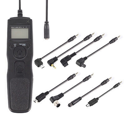 US Timer Remote Shutter Release Cable for Canon Nikon Sony +8pcs Removable Cable