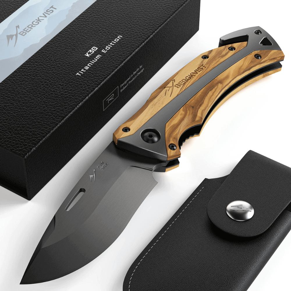 BERGKVIST K30 Titanium Taschenmesser Klappmesser mit Schleifstein + Geschenkbox