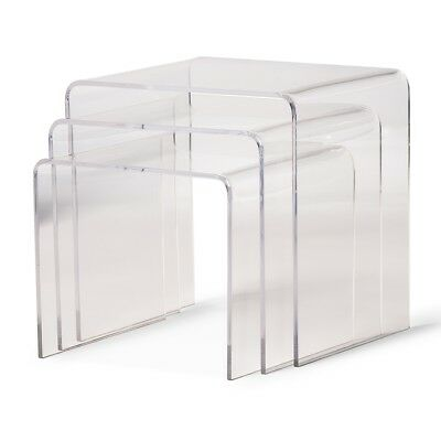 Clear Acrylic Nesting End Side Table 3 Piece Set Modern Display Stands Designer
