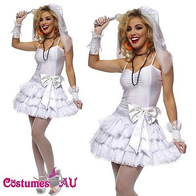 Madonna Outfits 1980s (1980s Madonna Virgin Bride 80s Clothing Fancy Dress Hens Party Costume)