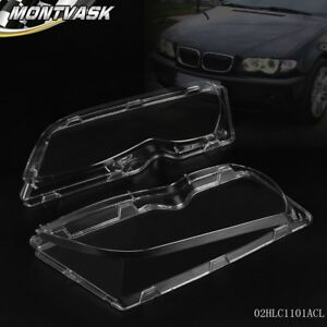 Pair Front Left +Right Headlight Lens Plastic For BMW E46 3-series 4DR 02-05
