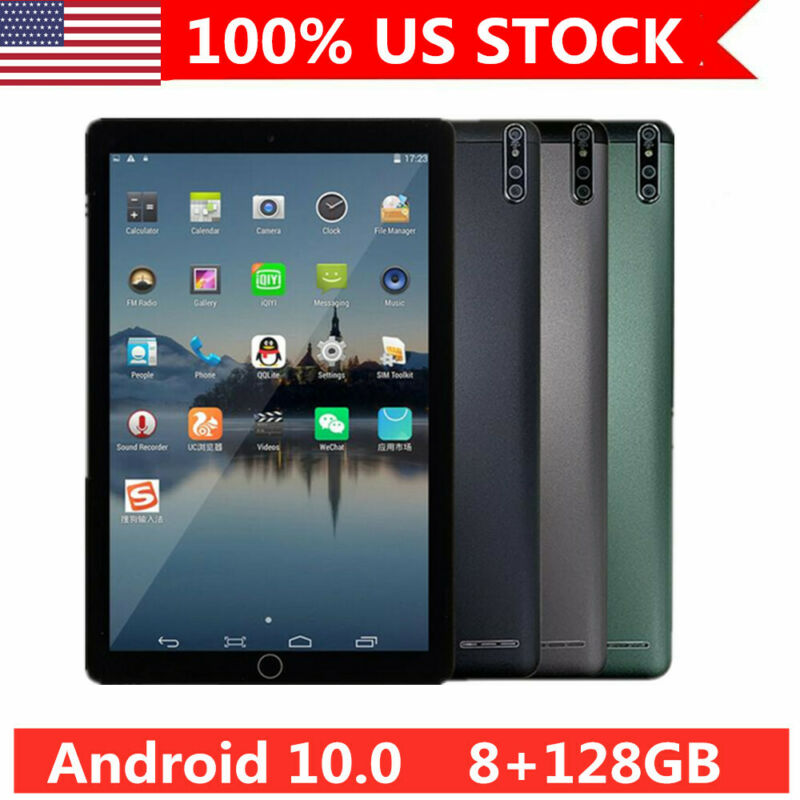"""10.1"""" Tablet PC Android 10.0 8+128GB 10-Core Bluetooth WIFI Camera GPS Phablet"""