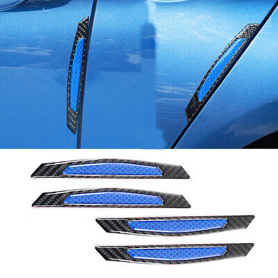 4x Carbon Fiber Style Blue Reflective Car Side Door Edge Protector Guard Sticker