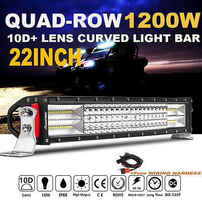"QUAD ROW 22INCH 1200W CREE CURVED LED WORK LIGHT BAR Combo Offroad  24""23""/ 20"""