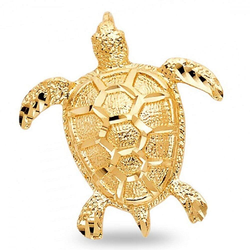 14K Solid Real Yellow Gold Diamond Cut Sea Turtle Charm Pendant
