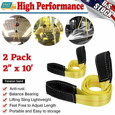 2 X 10ft Flat Loops Nylon Heavy Duty Webbing Sling Lifting Tow Strap - 2 Pack