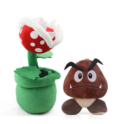 Super Mario Bros Piranha Plant Decoration Flower and Goomba Stuffed Plush Toys (Super Mario Brothers Decorations)
