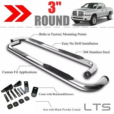 "3"" S.S Round Side Bars Running Boards for 2003-2008 DODGE RAM 2500 3500 QUAD CAB"