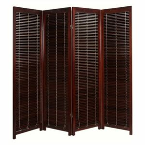 Tranquility Wooden Shutter Screen Room Divider - 4 Panel -, Walnut
