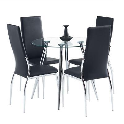 5 Piece Dining Sets Round Glass Metal Table 4 PU Leather Chairs Kitchen Room