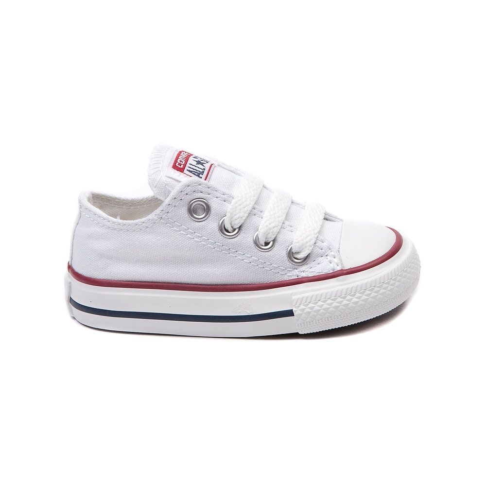 Обувь для новорожденных девочек Converse All Star Low Chucks Infant Toddler  Optical White Canvas Shoe 7J256 f296a153fbfd7