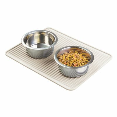 mDesign Silicone Pet Food/Water Bowl Feeding Mat for Dogs - Cream/Beige