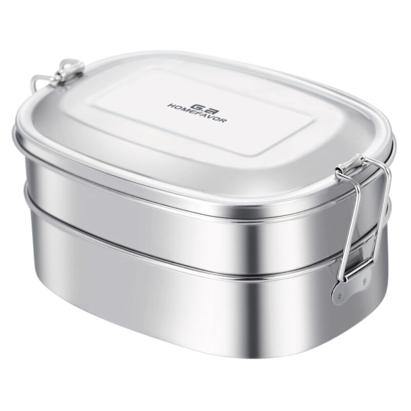 GA HOMEFAVOR Stainless Steel Lunch Box 2-in-1 Silver Food Co