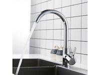 BRAND NEW Kitchen Sink Mixer Taps Tap Faucets Swivel Spout Mono Chrome Silver Modern