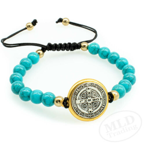 Saint St Benedict Medal Adjustable Black Cord Bracelet With Turquoise Tone Beads