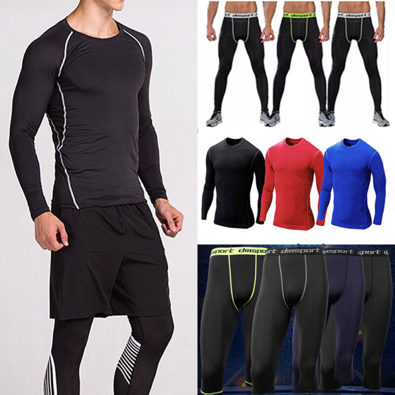 Mens WINTER White Compression Long Sleeve Tight Fitness Gym Running Skins Take 5