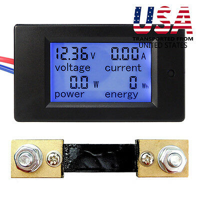 Dc 6.5100v 20-50-100a Lcd Digital Display Volt Amp Power Watt Meter Combo Panel