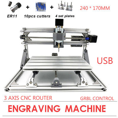 Usb 2417 Cnc Router 3 Axis Engraver Carving Milling Pvc Pcb Machine Diy Desktop