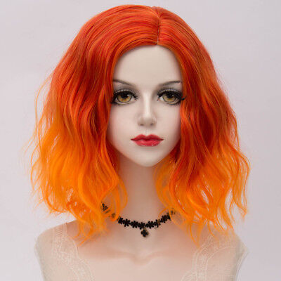 Lolita Halloween Cosplay Perücke Gotik 35cm + Cap Lockig Karneval Gelb Orange DE