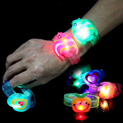 Lot LED Flashing Wrist Band Children Soft Silicone Glow In The Dark Kid Bracelet - Led Wrist Bands