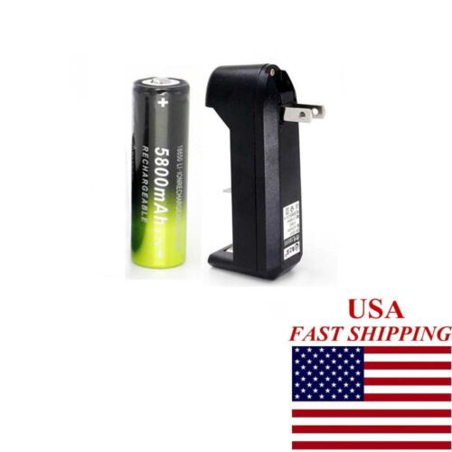 1PC Battery Li-ion 18650 3.7V Rechargeable Battery For Torch+1xSmart Charger USA
