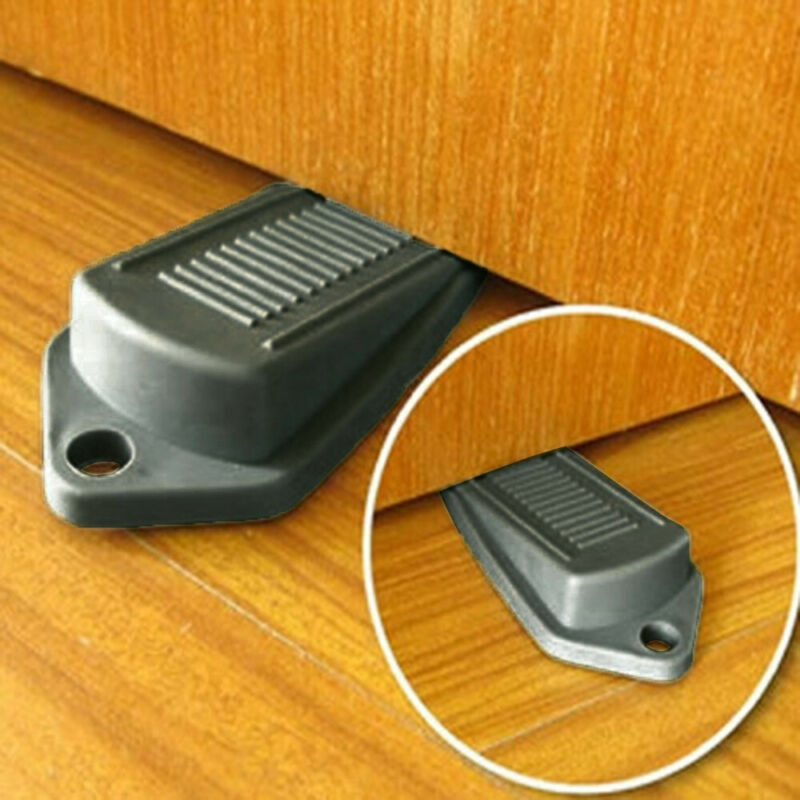 Fashion 2 X Black Door Stop Stops Stoppers Wedge Wedges Jam Block Home Office Cabinet Catches Color: Black