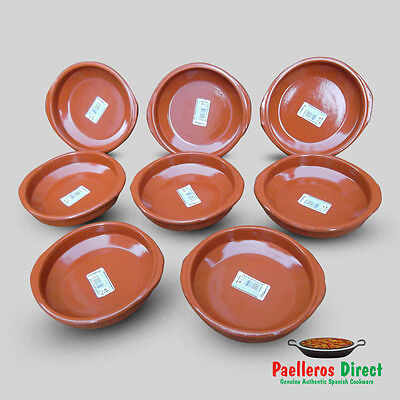 Set of 8 x 16cm Spanish Terracotta Tapas Dishes / Cazuelas