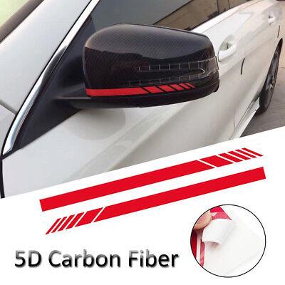 Car Accessories Rearview Mirror Carbon Fiber 5D Sticker Vinyl Stripe Decal Pair