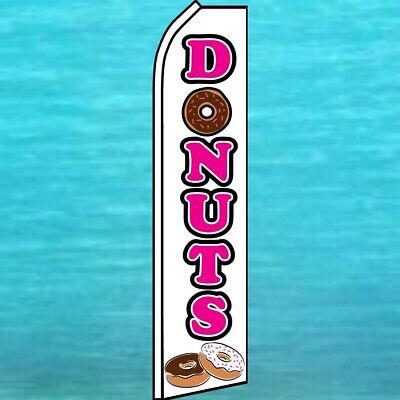 Donuts Flutter Flag Tall Curved Top Advertising Feather Swooper Wind Banner Sign