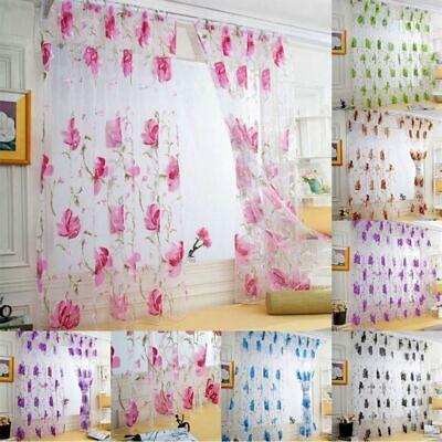 Floral Sheer Voile Curtains Window Drapes Panels Tulle Scarfs Door Room Dividers Door Window Panels