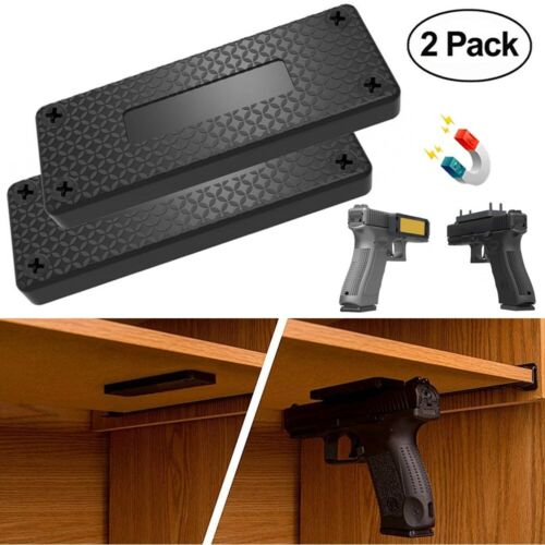 2 Pack 45 lb Gun Magnetic Mount Holder Holster Concealed Pistol For Car Bed Desk