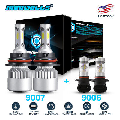 9007 CREE LED Headlight + Fog Lights 9006 for 2002-2005 Dodge Ram 1500 2500 3500