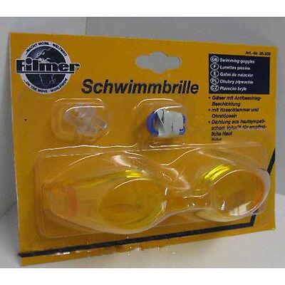 Schwimmbrille, Kunststoff,Nasenklammer Ohrenstöpsel,Schwimm Taucher Brille, gelb