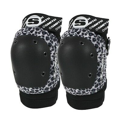 Smith Safety Gear Scabs ELITE KNEE Skateboard Pads WHITE LEOPARD S/M