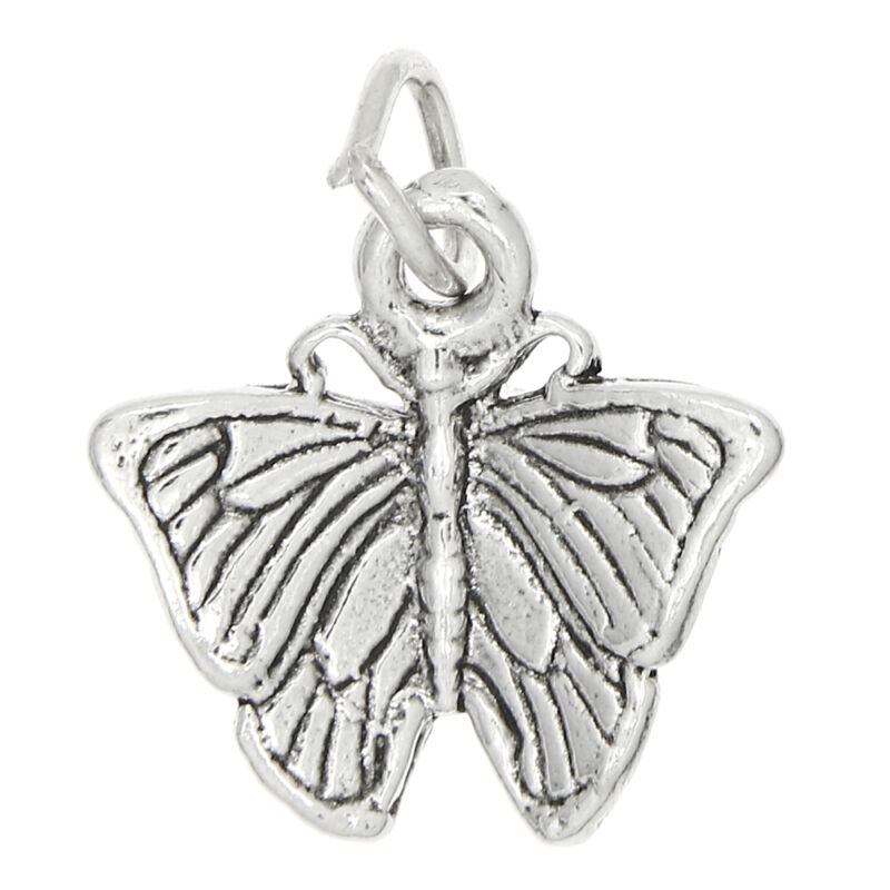 STERLING SILVER VINTAGE STYLE DETAILED BUTTERFLY CHARM OR PENDANT