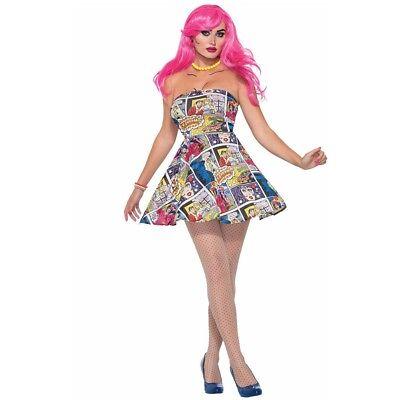 Forum Novelties 76718 Pop Art Dress (uk 10-12) - Fancy Ladies Costume Outfit - Pop Art Halloween Outfit