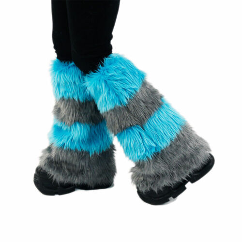 PAWSTAR Cheshire Cat Leg Warmers - Fluffies Teal Gray Blue Boot Cover [ALT]2900