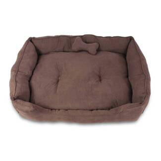 Deluxe Faux Suede Dog Bed Pet Cat Puppy Washable Soft Cushion M