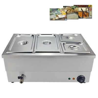 Electric Bain Marie Commercial Food Warmer 4 Pans Stainless Steel Display