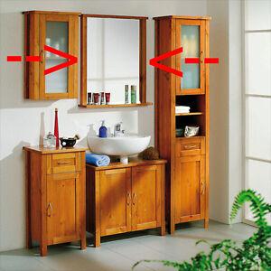 Spiegel mit Ablage Badezimmermöbel PEDRO Badmöbel Kiefer Massiv Honig-Braun
