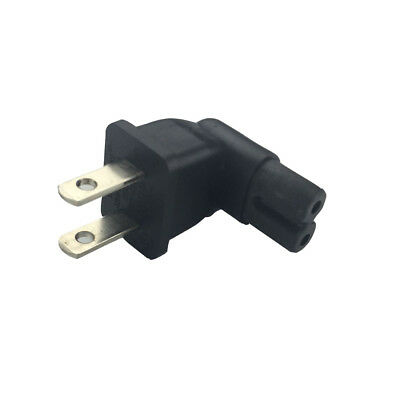 2 Prong Power Plug (US 2 Prong Right Angle AC power Plug Adapter IEC C7 receptacle to NEMA 1-15P)