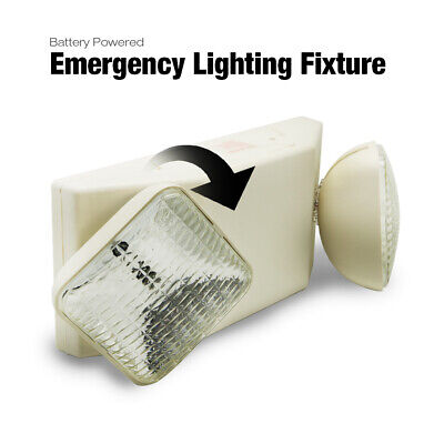 Exit Sign Battery Powered Emergency Lighting Fixture Double Heads White New Us