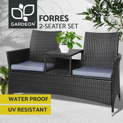 Garden Furniture - Gardeon Patio Furniture Outdoor Bench Garden Setting Wicker Chair Table 2 Seat