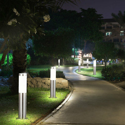 6er Set Außen Lampe Park Haus 8,5 Watt Edelstahl Leuchte HxD 45x7,6 cm EEK A+
