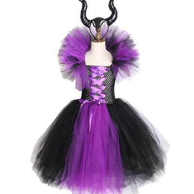 Girls Halloween Costume Maleficent Evil Queen Tutu Dress with Horns Black Purple](Maleficent Girls Costume)