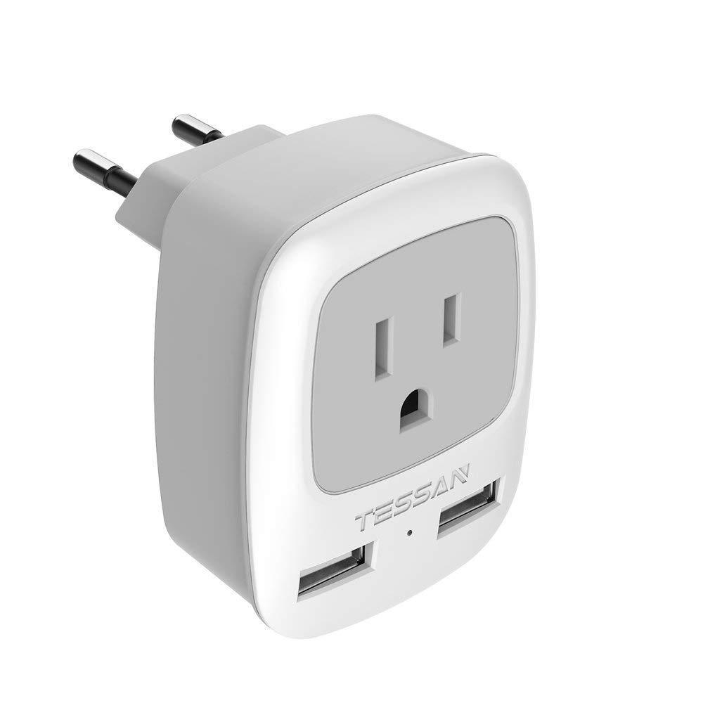 USA to Most of Europe Travel Plug Adapter with 1 AC Outlet &