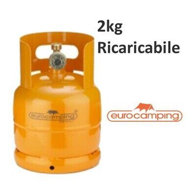 BOMBOLA GAS 2KG PROPANO RICARICABILE VUOTA CAMPING FORNELLINO