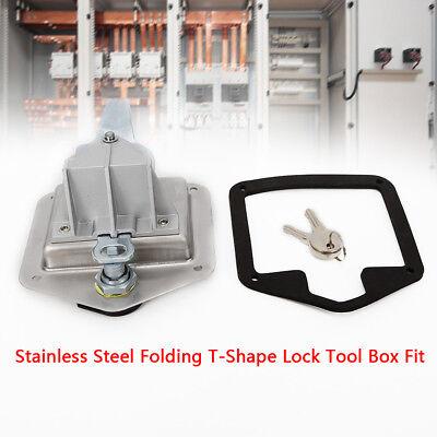 Stainless Steel Folding T Shape Handle Lock Tool Box Keys Truck Trailer Camp