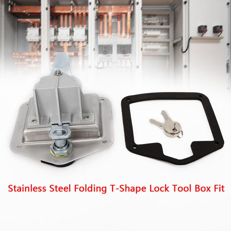 Stainless Steel Folding T Shape Handle Lock Tool Box&Key Truck Trailer Camp Silv